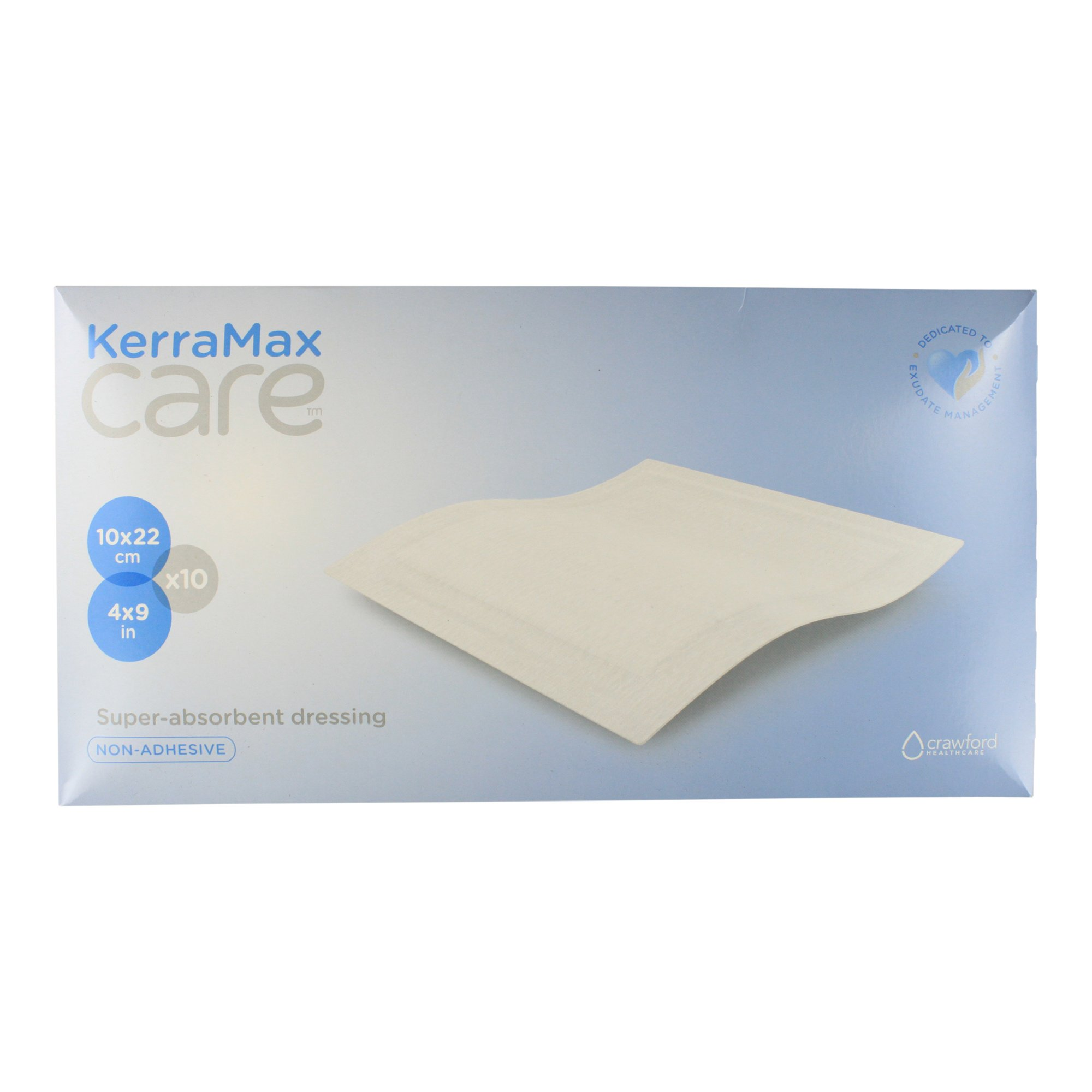 KerraMax Care 4''x9'' Super Absorbent Wound Dressing (PRD500-120) – Absorbs Exudate and Isolates it, Preventing Leaks or Drips for Improved Patient Comfort and Wound Care Treatment (Box of 10)