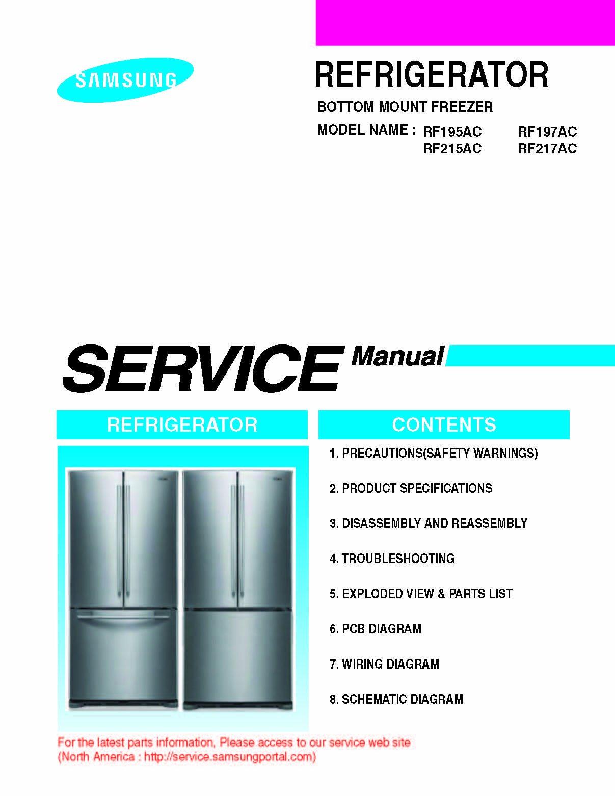 Samsung Rf217acrs Xaa Service Manual And Rf217acpn Refrigerator Wiring Schematic Rf217acbp Books