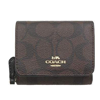 77656b8cb54697 Amazon   [コーチ] COACH 財布(三つ折り財布) F41302 ブラウン×ブラック シグネチャー 三つ折り財布 レディース  [アウトレット品] [並行輸入品]   財布