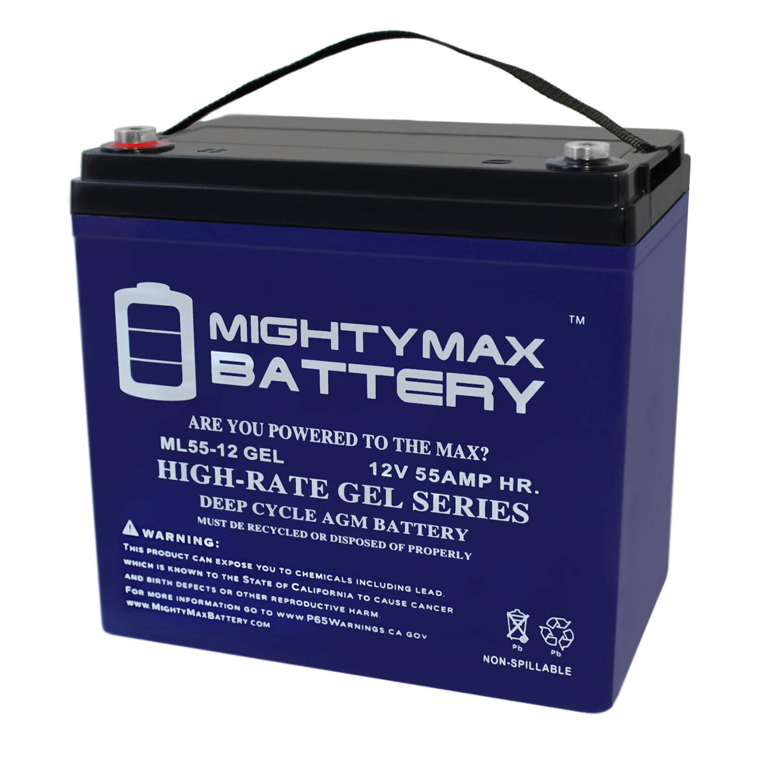 12V 55AH Gel Battery for Pride Mobility Jazzy 600, 600 XL by Mighty Max Battery