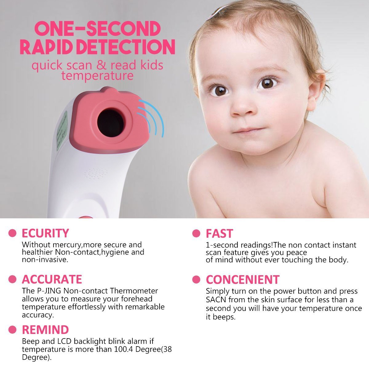 Forehead Thermometer, JDDZ Non-Contact Infants Infrared Thermometer, Professional Clinical Instant Digital Fever Temperature Scanner for Baby,Kids and Home with Bilingual Celsius Fahrenheit(Pink) by JDDZ (Image #5)