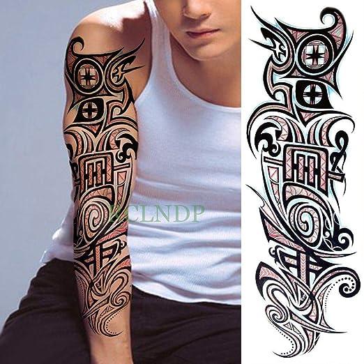 Tatuaje temporal a prueba de agua pegatina tótem geométrico brazo ...
