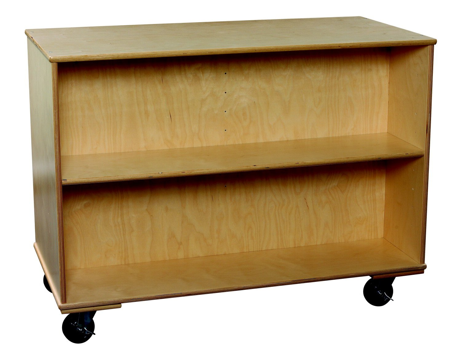Classroom Select 1467858 Mobile Double-Sided Book Case with Adjustable Shelf, Birch veneer, 36'', Natural Wood Tone