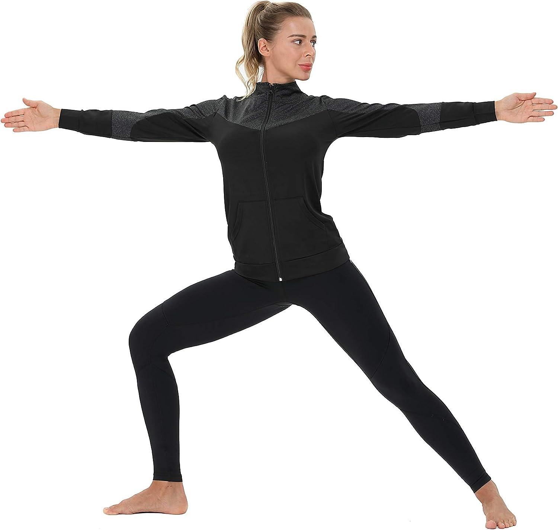 AMZSPORT Damen Laufjacke Sportjacke Langarm Trainingsjacke Sweatjacke mit Tasche F/ür Yoga Fitness