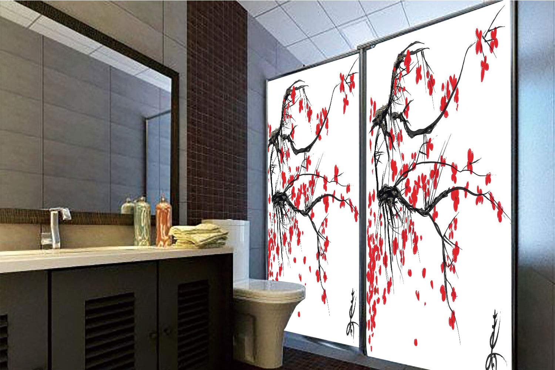 Horrisophie dodo 接着剤不使用 静電気でくっつくガラスステッカー 家の装飾 桜の花 日本の桜の木 夏のヴィンテージ文化アートワーク レッド ブラック 高さ35.43インチ×幅23.62インチ 自宅&オフィス用 47.24
