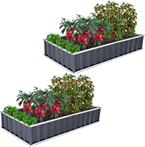 GROWNEER 2 Packs 5.7 x 3 x 1 ft Dark Gray Metal Raised Garden Bed with 1 Pair of Gloves and 30 Pcs Plant Labels, Elevated Planter Box for Vegetables, Fruits, Flowers, Herbs