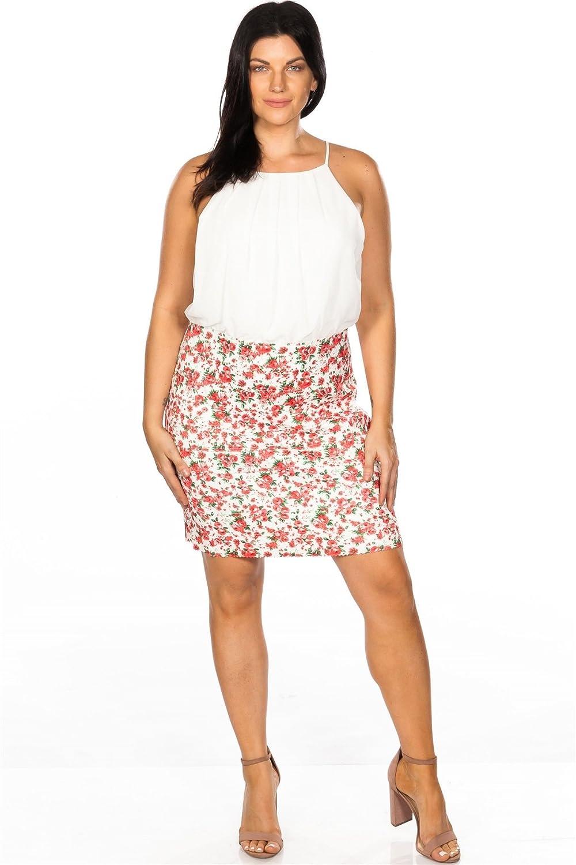 Ladies Fashion Plus Size Floral Print Color Block Elastic ...