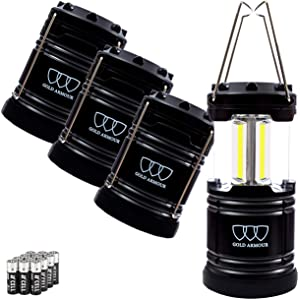 Gold Armour 4 Pack LED Camping Lantern Portable Flashlight with 12 aa Batteries - Survival Kit for Emergency, Hurricane, Power Outage Christmas