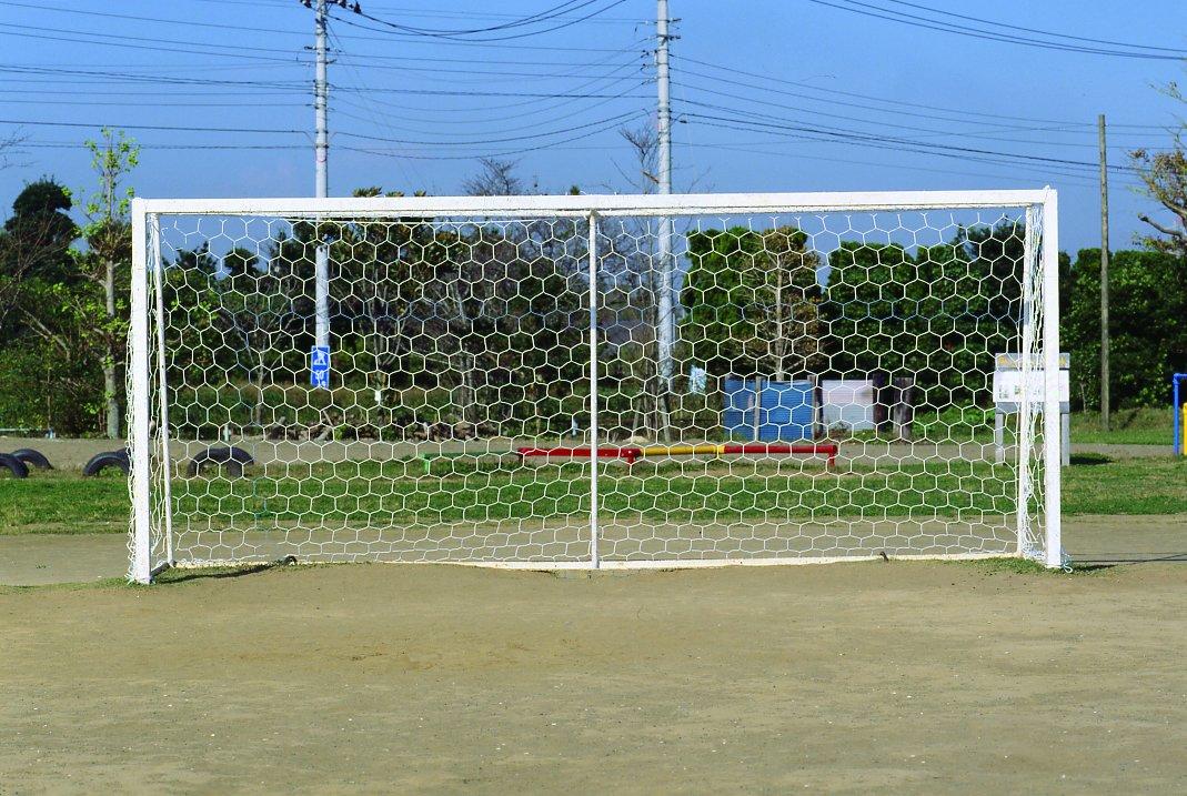 サッカー 少年用ランバスサッカーゴールネット オフホワイト ランバス六角目 2枚組  日本製  *ボールの衝撃を吸収する六角目ネットランバスネット! B01JLEBA0E