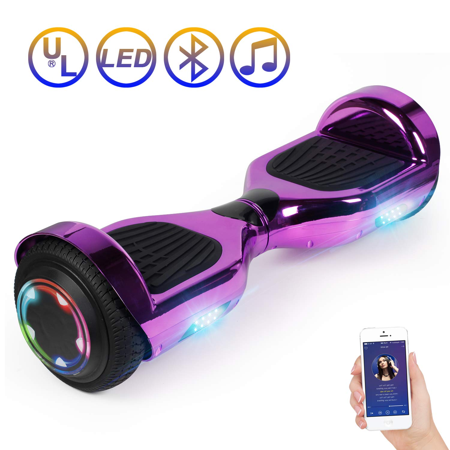 Hoverboard Self Balancing Scooter 6.5'' Two-Wheel Self Balancing Hoverboard with Bluetooth Speaker and LED Lights Electric Scooter for Adult Kids Gift UL 2272 Certified Plating Dazzle U Series - Purple by SISIGAD