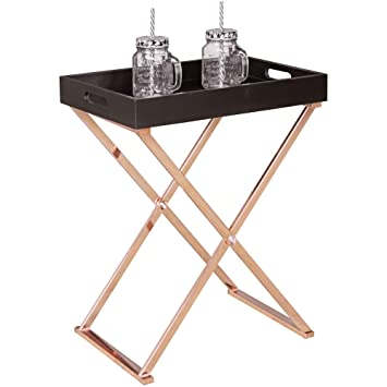 Finebuy Design Beistelltisch Serve Kupfer Schwarz Mit Tablett 48 X 61 X 34 Cm Couchtisch Klappbar Wohnzimmertisch Mit Tray Tabletttisch Holz