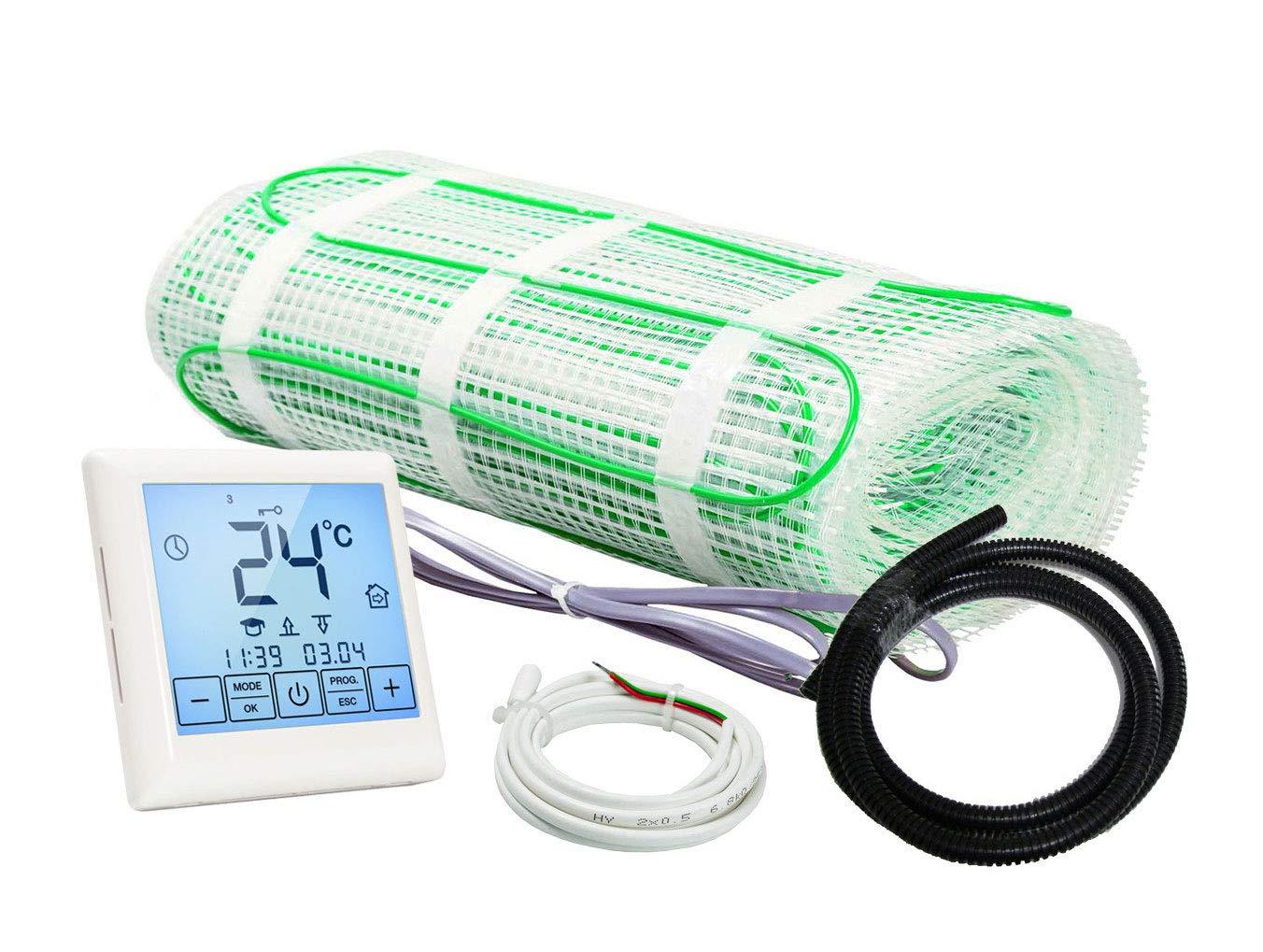 tout r/évetement 6.0 m/² affichage LCD /écran tactile Plancher chauffant /électrique rayonnant 200 W//m/² Kit Complet avec Thermostat digital programmable