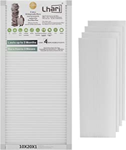 Lhari 10x20x1 MERV 12 AC Furnace Air Filters, MPR1500 HVAC Pleated AC Furnace Filters, Allergen Reduction, Mold and Pollen Removal, Healthier Home Environment, 1 Reusable Frame + 4 Filter Medias