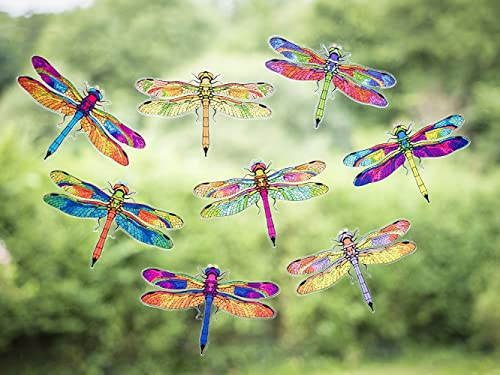 8 Beautiful Dragonfly Double-Sided Static Cling Window Stickers - Dragonfly Anti Collision Bird Strike Window Stickers - Fast UK Delivery!