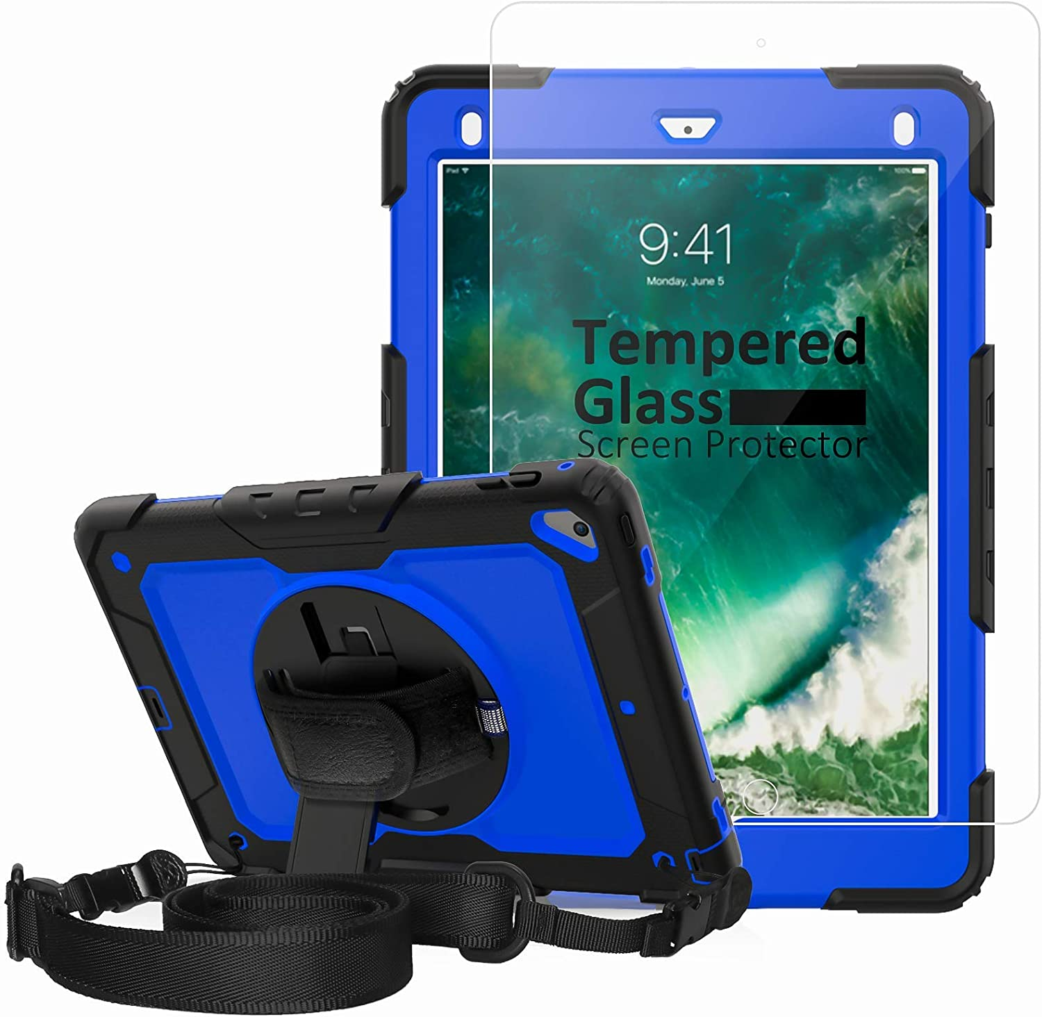 iPad 6th Generation Case with Tempered Glass Screen Protector, New iPad 9.7 Case 2017, [360° Rotatable Hand Strap & Kickstand] Ambison Full Body Protective Case with Pencil Holder (Blue & Black)