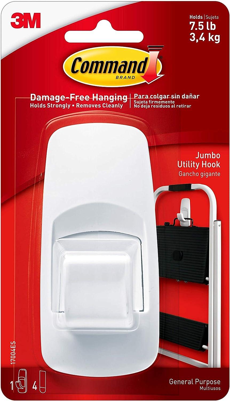 Command Jumbo Utility Hook, White, 1-Hook (17004ES): Home Improvement