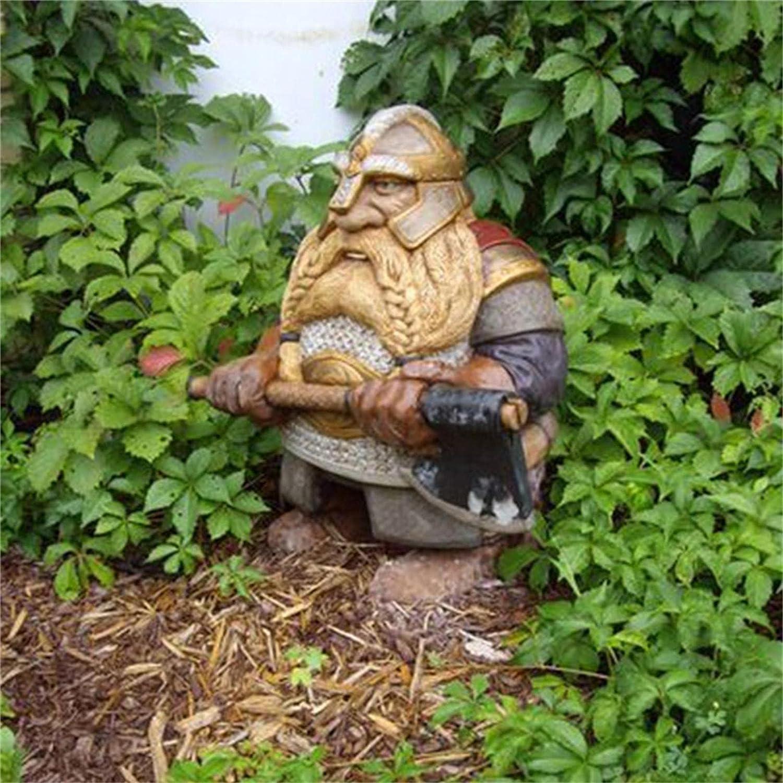 GONEBIN Viking Victor Norse Dwarf Gnome Statue,Outdoor Gnome Figurines Full Color Decoration for Home Garden Yard Lawn (E(10cm))