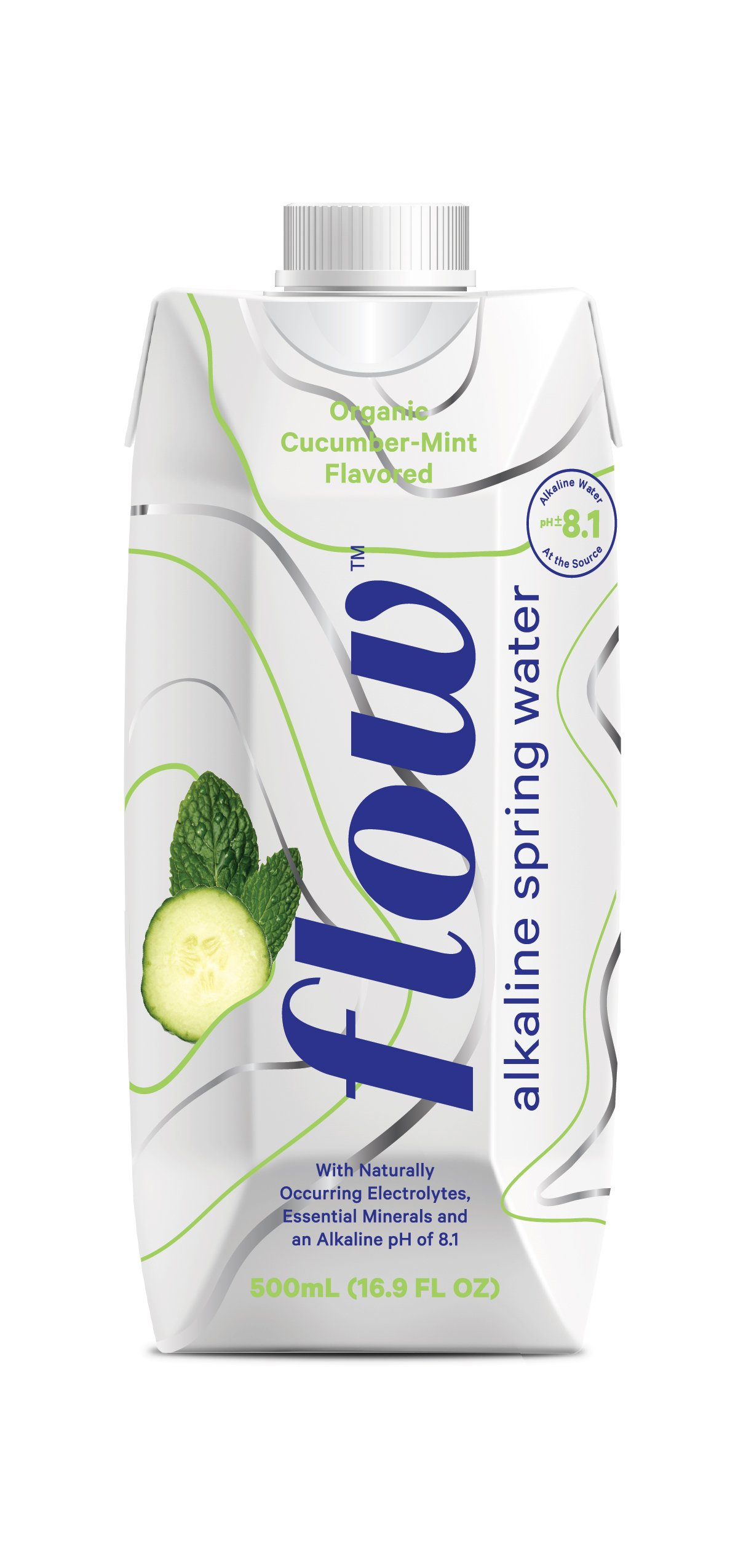 Flow Alkaline Spring Water - Organic Cucumber + Mint, in eco-Friendly Packaging - (Pack of 12 x 500ml)
