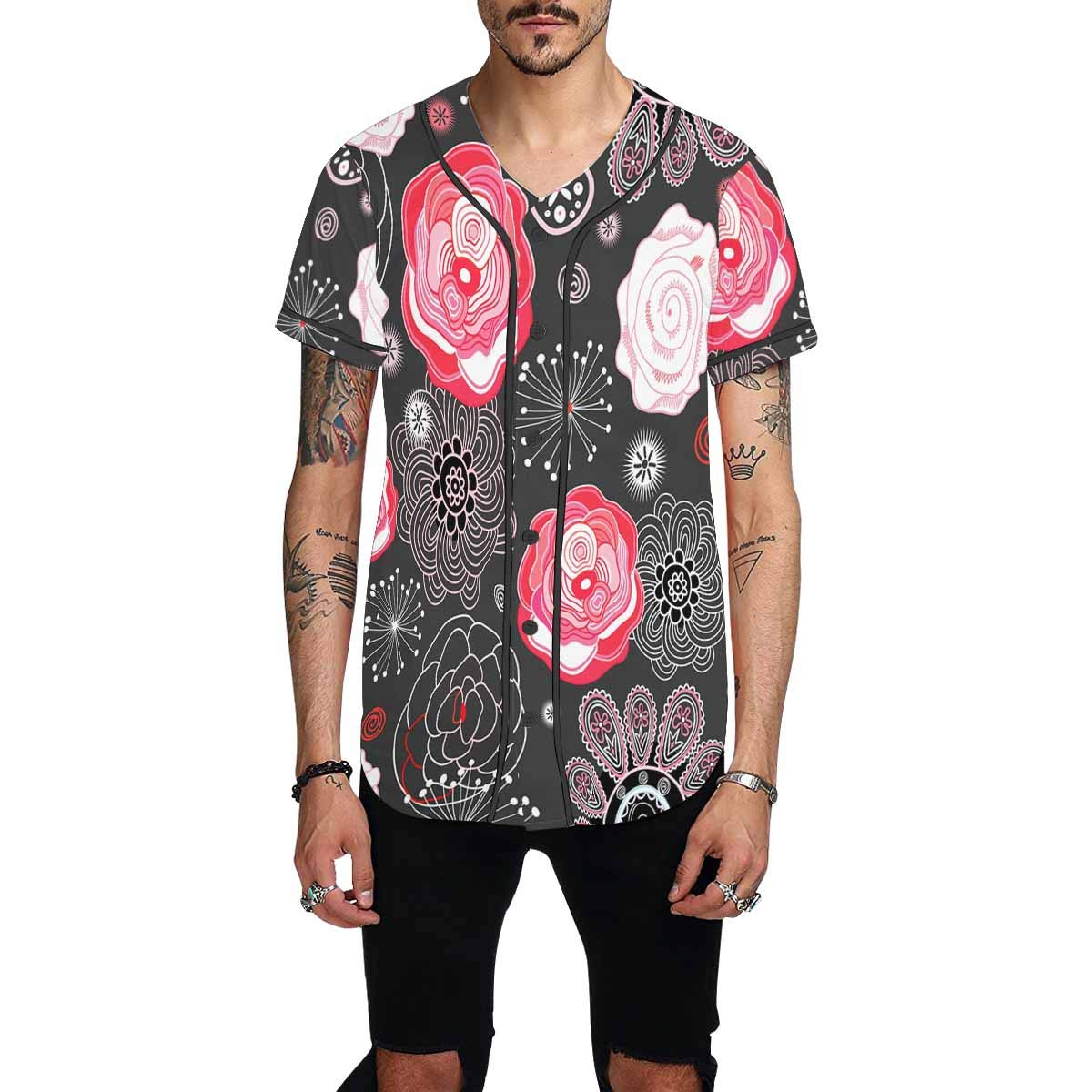 INTERESTPRINT Mens Button Down Baseball Jersey Bright Floral Pattern