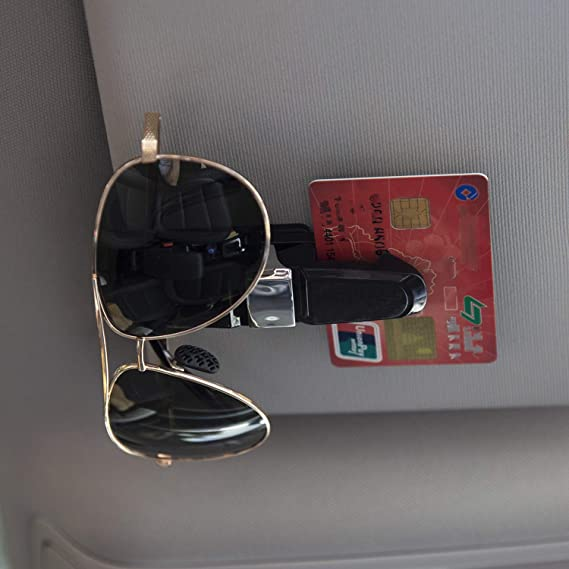 LUTER 4 Pcs Glasses Holder Car Sun Visor Ticket Card Sunglasses Clip 180 Degree Rotatable Double-Ended with Built-in Sponge Black