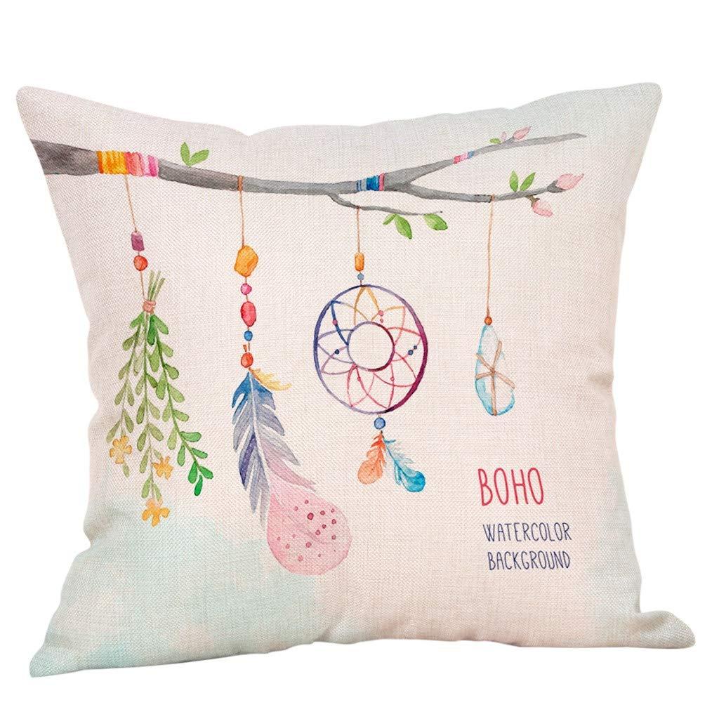 Pathside Invisible Zipper Creative Chief Feather Print Pillowcase Linen Home Decoration Pillowcase (C)