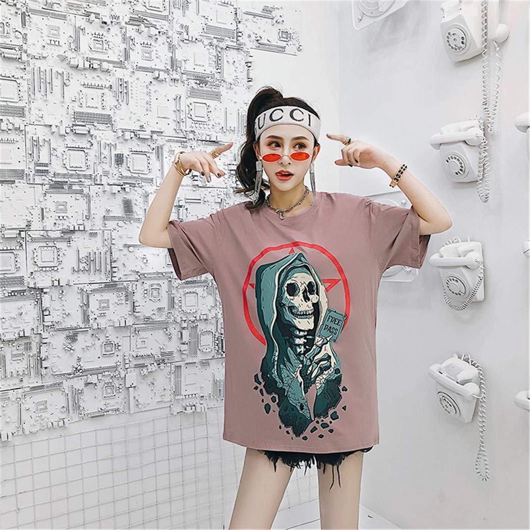 Men Women Streetwear Hip Hop Skull Tshirts T-Shirts Harajuku Pink L