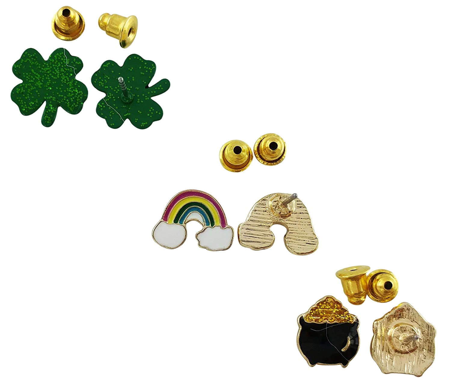 Fashion Jewelry Set of Three Irish Post Earrings Leprechaun Pot of Gold Studs Rainbow Studs Gold Plated Earrings 4 Leaf Clover Stud