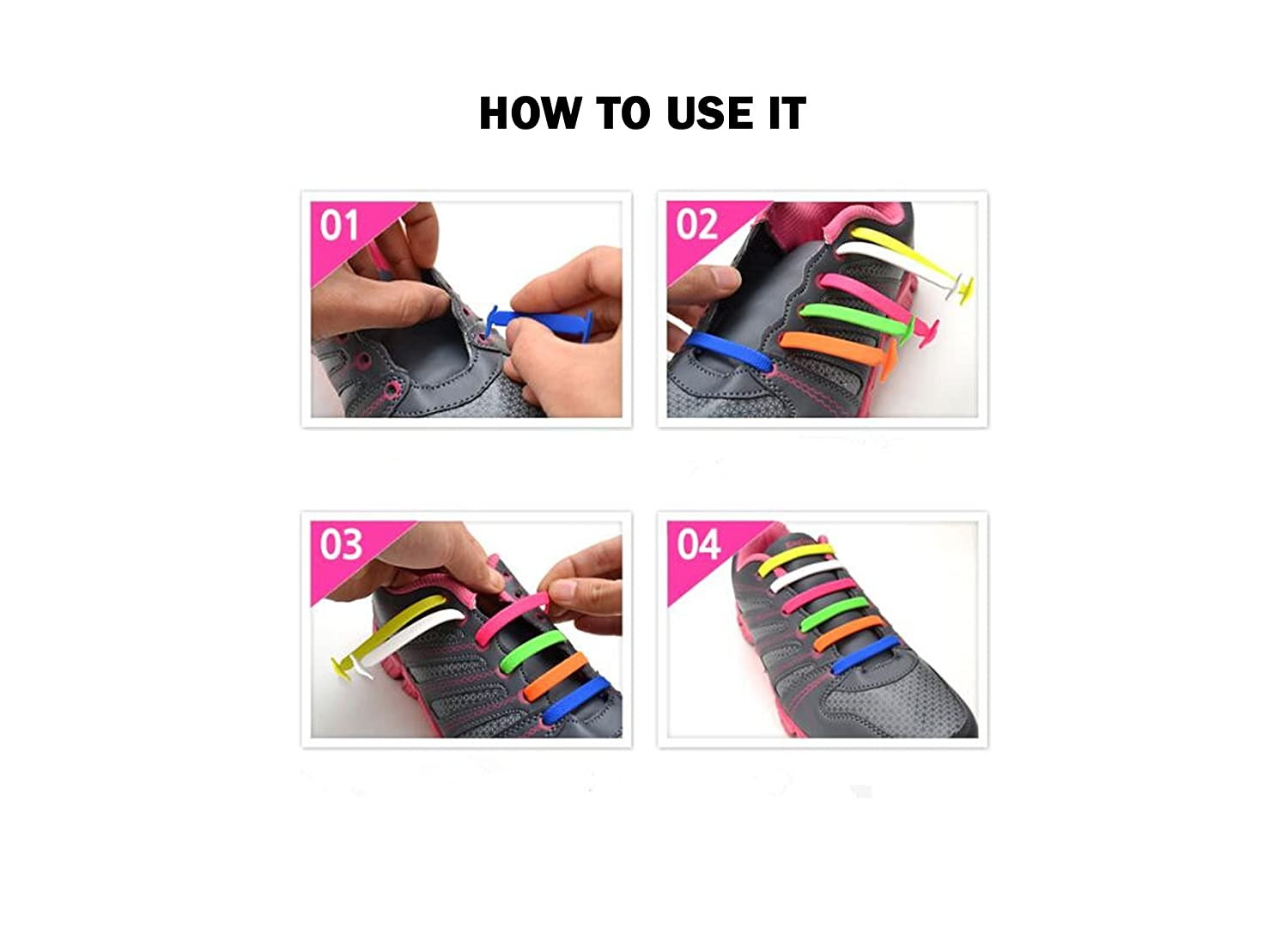 Dodjvi No Tie Shoe Laces, Silicone Shoelaces Lock Bands for Kid Sizes DIY, Eco-Friendly & Waterproof (Grey) Coolnice
