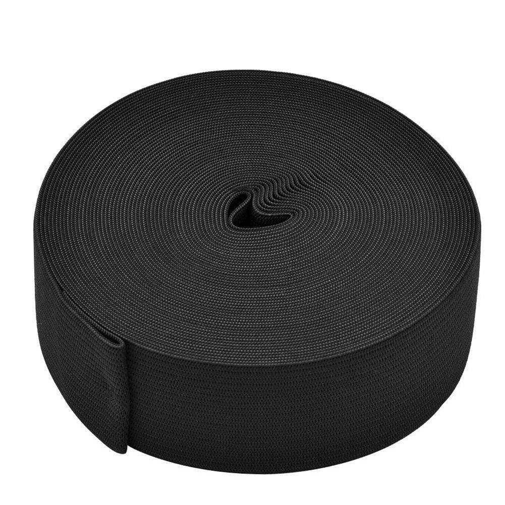 10 Yard Knit Elastic Spool, Springy Stretch Knitting Sewing Elastic Band, Black (3/4 Inch) Abrrow