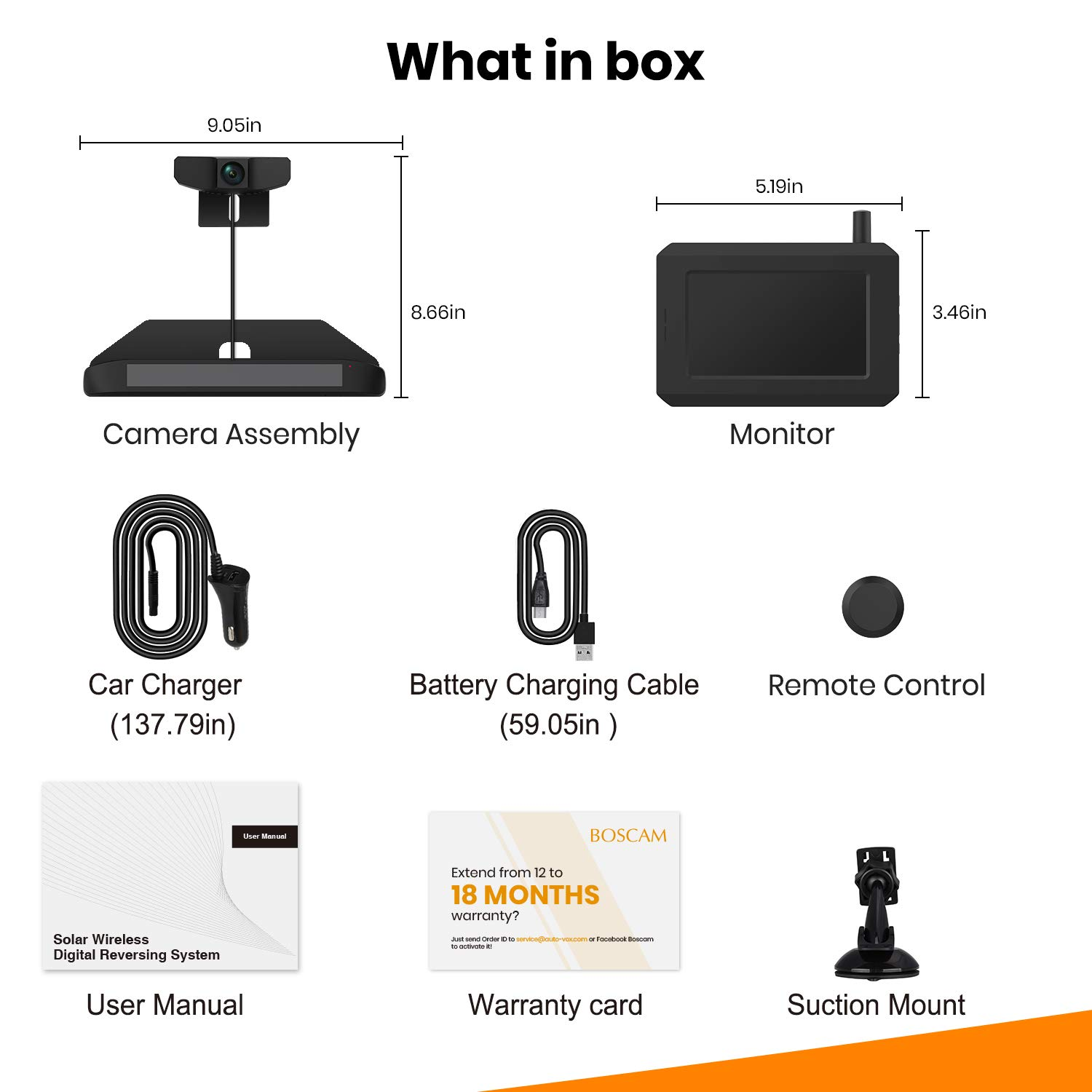 Rear View Camera BOSCAM SunGo Back up Camera with Universal Bracket No Wiring Minutes Installation Solar Wireless Backup Camera with Stable Digital Signal