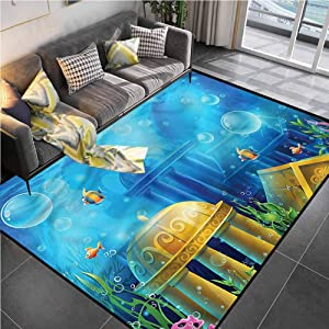 Area Rug Print Large Rug Mat Ocean,Ancient Atlantis Under Sea Bathroom Rugs for Living Playing Dorm Room Bedroom 4'x5'