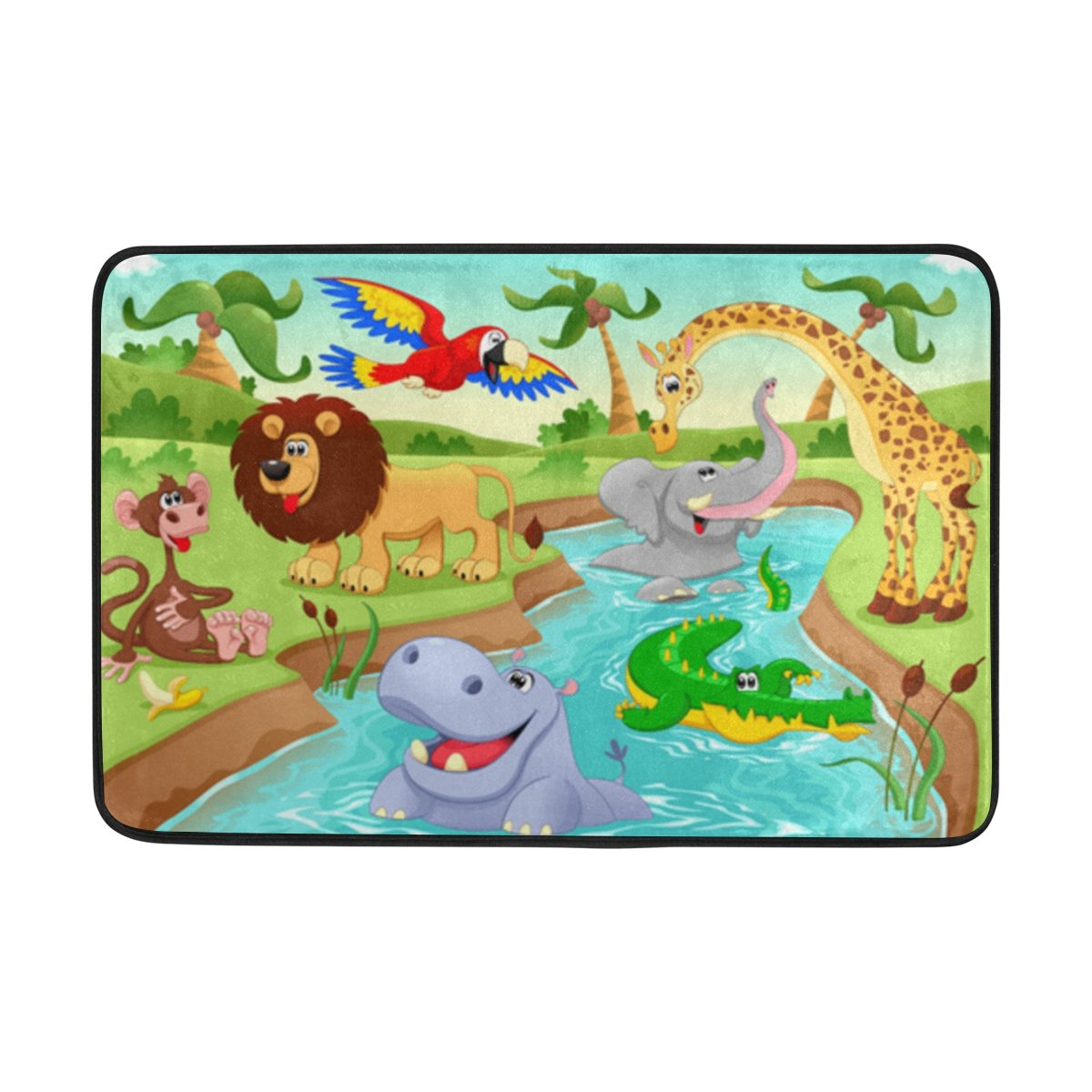 My Little Nest Cartoon African Jungle Animals Kids Playroom Floor Mat Non Slip Soft Bedroom Door Mat Classroom Rug Carpet 23.6''x 15.7''