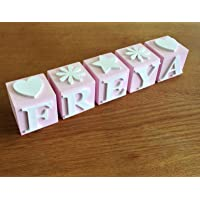 Personalised Baby name blocks - Pink PLEASE NOTE: The price is £4.50 per letter block and not per name