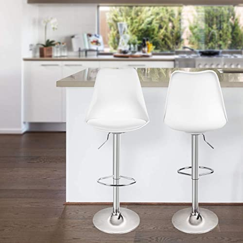 Magshion Set of 2 Swivel Plastic Highback Bar Stool