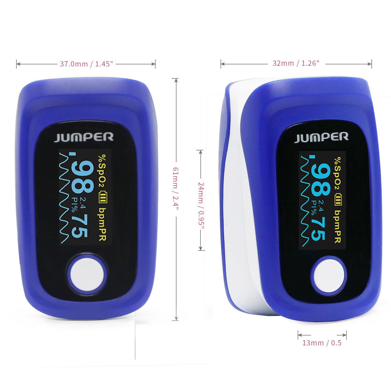Jumper 500E Oxímetro de Pulso, Pulsioxímetro de Dedo Pulsioxímetro con Pantalla para Saturación de Oxígeno SpO2 y Frecuencia del Pulso Medición: Amazon.es: ...