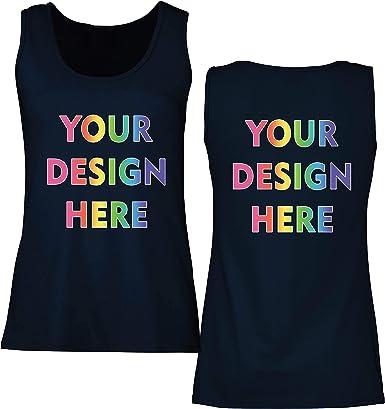 lepni.me Camisetas sin Mangas para Mujer Impresión Personalizada de 2 Caras en el Frente y en la Parte Posterior, Texto Personalizado o Diseño de su ...
