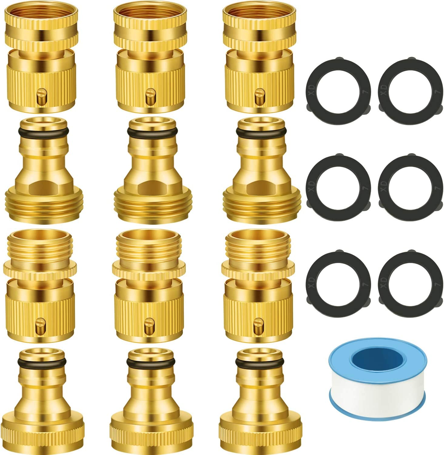 6 Sets Garden Hose Quick Connector Fitting 3/4 Inch Brass Garden Hose Connector Easy Connect Fitting Male and Female Set