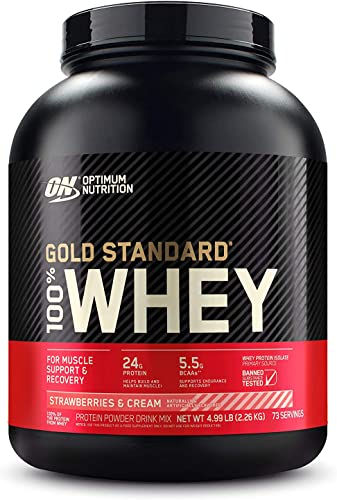 Optimum Nutrition Gold Standard 100 Whey Protein Powder, Strawberry Cream, 5 Pound Packaging May Vary