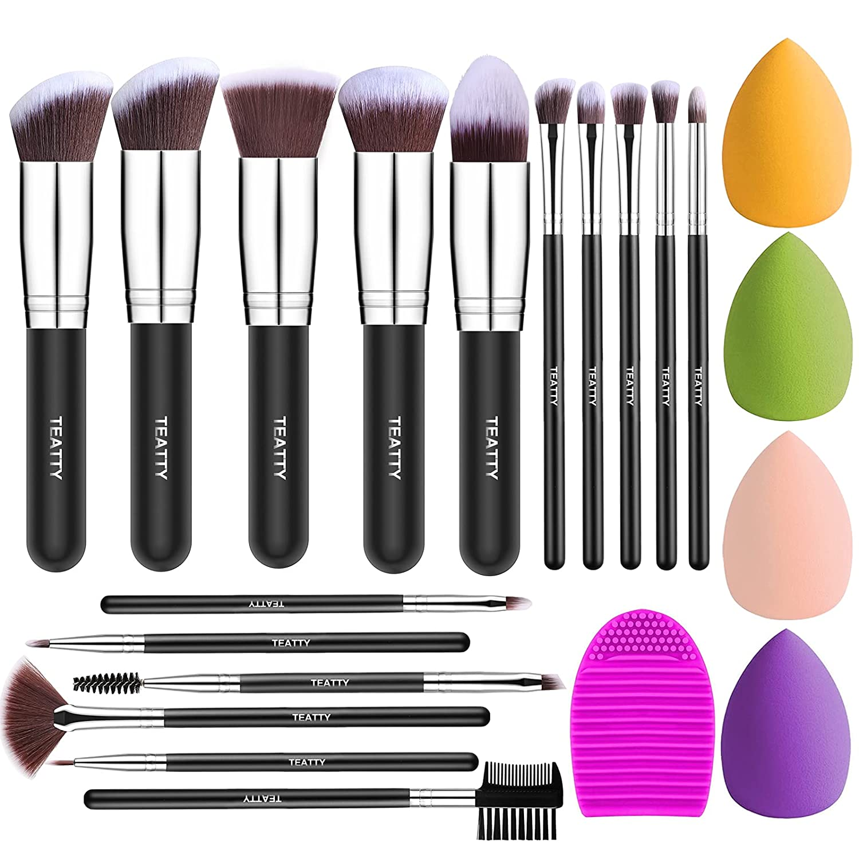 TEATTY Makeup Brush Set 16Pcs Premium Synthetic Blending Foundation Face Powder Concealers Blush Eyeshadow Makeup Brushes Tool with 4PCs Blender Sponge & 1 Brush Cleaner Black Silver