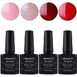 Allenbelle Esmaltes Permanentes Para Uñas Nail Art Soak Off UV LED Esmalte Permanente de gel (Lot 4 pcs 7.3ML/pc)