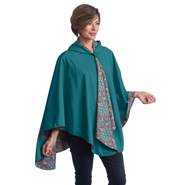 RainCaper Rain Poncho for Women - Reversible Rainproof Hooded Cape in Gorgeous Ultrasoft Colors (Jade & Kaleidoscope)