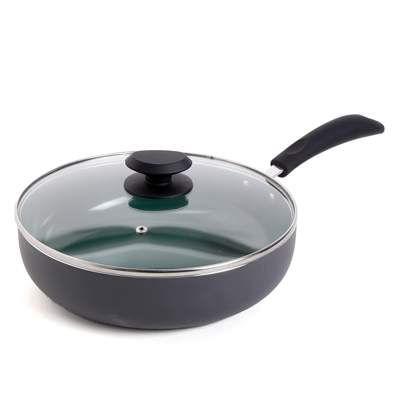 Gibson Home 92139.02 Hummington 3.5-Quart Ceramic Non-Stick Saute Pan with Lid, Green