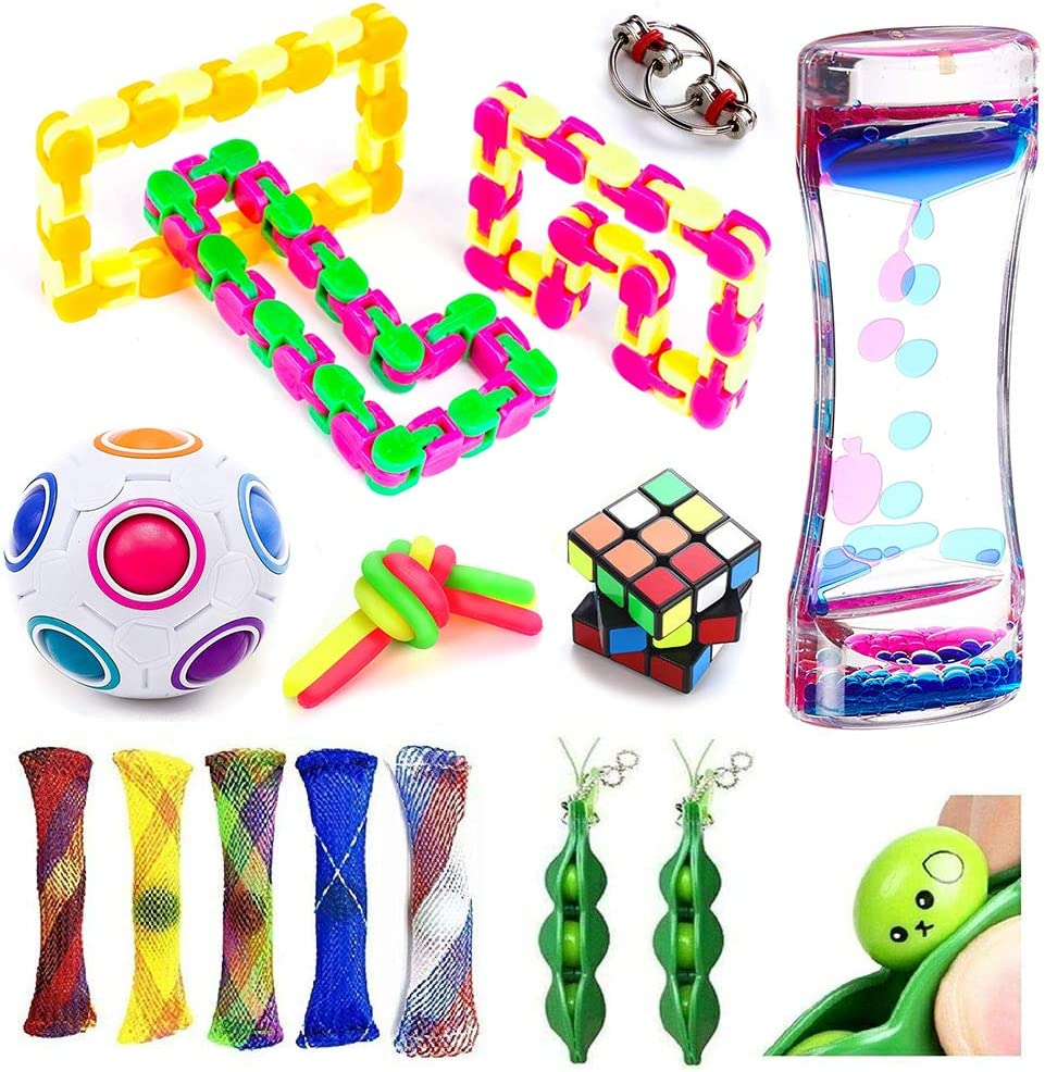 Unicorn Stretchy String Fidgeting Game For ADHD ADD Autism with Metal Puzzle Slime Eggs Sensory Relieves Stress /& Anxiety Squeeze Toys For Kids Teens and Adults Fidget Toys Set 24Pack Stress Ball