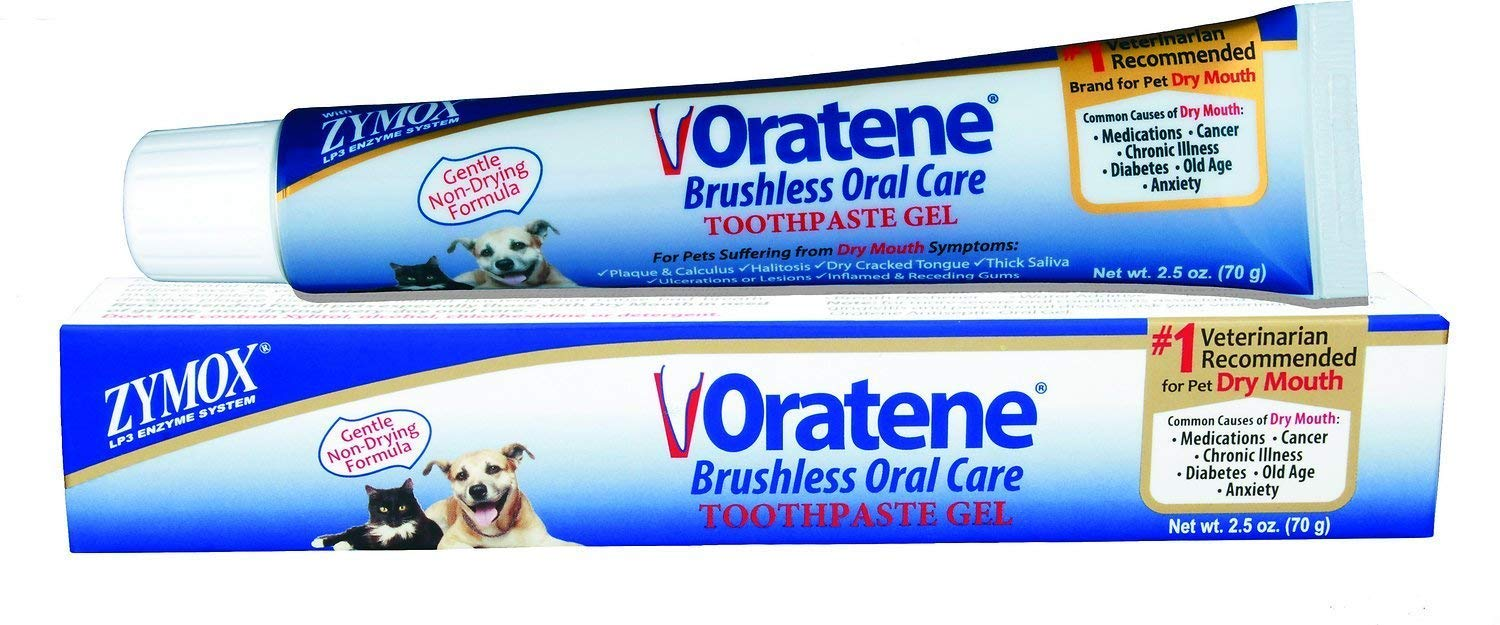 Brushless Therapy Enzymatic Oral Care Oratene Dental Gel for Dogs & Cats, 2.5-oz Tube