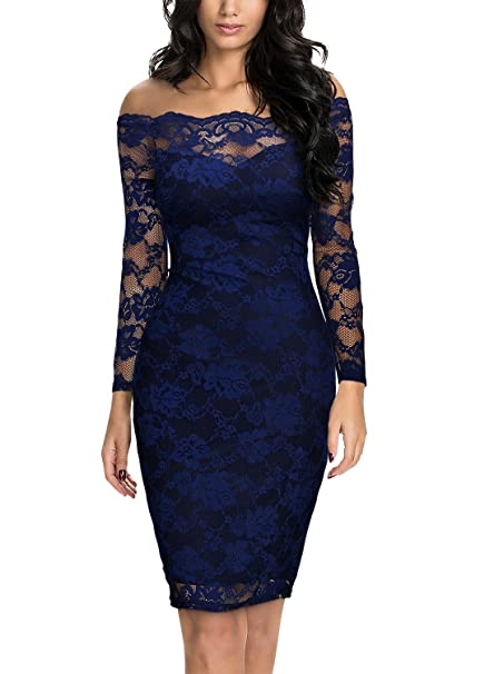 Miusol Elegante Encaje Slim Fiesta Vestido para Mujer Azul Small