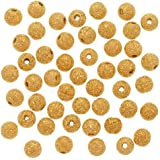 DUMAN 22K Gold Plated Stardust Sparkle Round Beads 4mm (100pcs) by DUMAN STARDUST BEADS