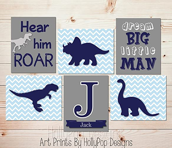 Superieur Kids Room Decor Toddler Boy Bedroom Art Dinosaur Nursery Art Navy Blue Gray Wall  Decor Dream