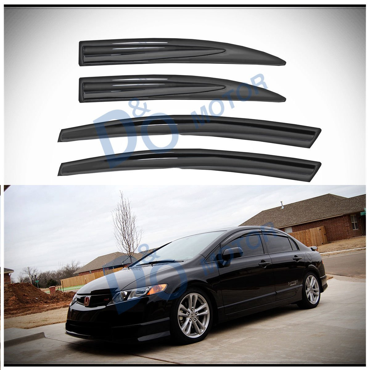 D&O MOTOR 4pcs JDM 3D Wavy MU Style Front+Rear Smoke Sun/Rain Guard Outside Mount Tape-On Vent Shade Window Visors For 06-11 Honda Civic 4-Door Sedan