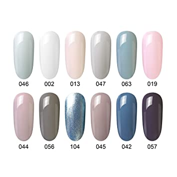 Amazon 12pcs gel nail polish soak off uv led nail art 12pcs gel nail polish soak off uv led nail art manicure varnish set 8ml prinsesfo Images