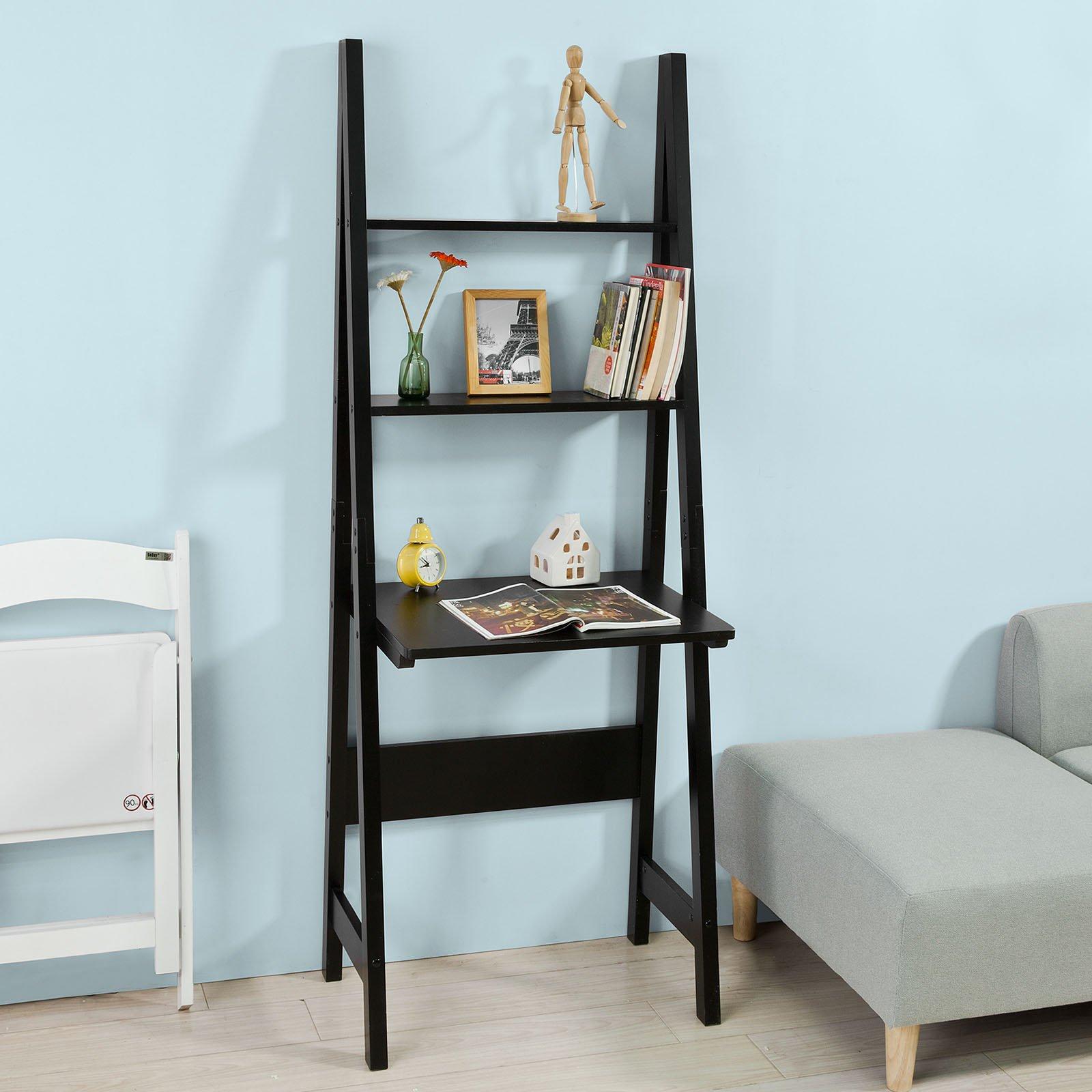 Haotian Modern ladder bookcase made of wood, book shelf,stand shelf, wall shelf ,corner bookshelf (FRG60-SCH)